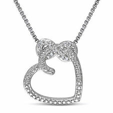 Sterling Silver Diamond Infinity Love Heart Pendant Necklace w Chain GH I2;I3
