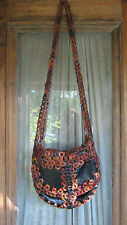 Vintage 60s 70s Leather Woven Chain Link Purse Messenger Bag Hippie Boho Rare