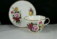 Queens English Bone China Teacup and Saucer Red, Pink and Yellow Roses