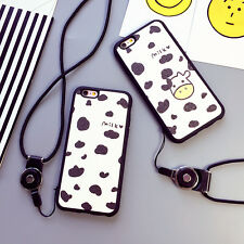 Milk Cow Couple Multi-Use Cover Case with Wearable Necklace For iPhone 6/6s Face
