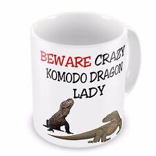 Beware Crazy KOMODO DRAGON LADY Funny Novelty Gift Mug