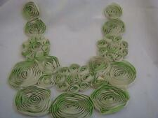 1 chiffon Ivory  lime green rose embroidered  tulle  neckline Collar applique L9