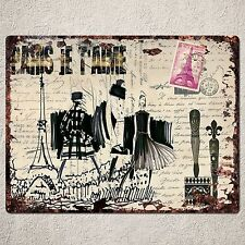 PP0037 Old Vintage PARIS Postcard Sign Rustic Parking Plate Home Cafe Gift Decor