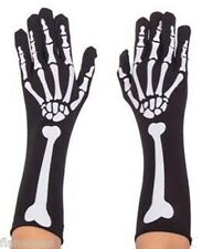 Bone Skeleton Gloves Halloween Costume Black Length Skeleton Print Gloves