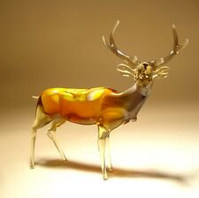 "Blown Glass Figurine ""Murano"" Art Animal Brown Elk DEER"