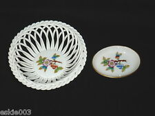 HEREND Hungary Hand Painted Porcelain Open Work BASKET & Small Pin DISH