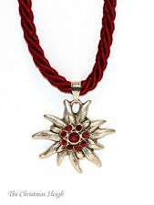 German Bavarian Womens Oktoberfest Jewelry Dark Red Swarovski Edelweiss Necklace