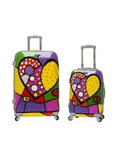 Rockland 2 Piece Upright Luggage Set Suit Case Kids Hard Side Heart Wheels Child