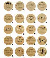 100 x Personalised Circular Kraft Paper Wedding Bomboniere Sticker Labels