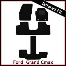 Ford Grand C-Max 2011 onwards Oval Eyelets Tailored Carpet Car Mats BLACK