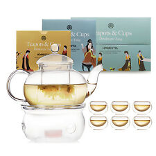 Glass Tea Pot Set Infuser Teapot Warmer 6 Double Wall Tea Cups Tableware Gifts