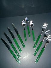 Lot of spoons forks knives with hunter dark green plastic handles hanging holes