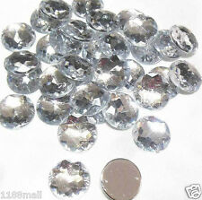 20 Buttons 20mm (Crystal Clear) Acrylic Rhinestone Buttons Round Flatback LARGE