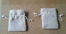 """Two Small Burlap Bags 5"""" x  3 1/2"""" (Preowned)"""