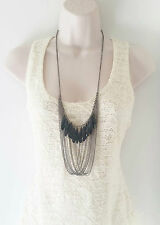 "Gorgeous 26"" long black hematite draped - layered chain & bead necklace"