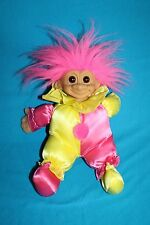 "Russ CLOWN BABY TROLL Doll 12"" JESTER Soft Body Pink & Yellow Outfit Vtg 3604"