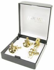 CUFFLINKS TIE PIN NAUTICAL BRASS ANCHOR BOAT SHIP PEWTER CUFF LINKS XMAS BNIB UK