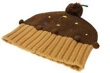 L A Gear Girls Beanie Hat Cap Brown Pom Pom Brand New