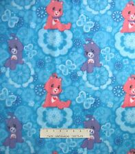 "Anti-Pill Fleece Fabric - Pink & Purple Care Bear on Blue Flowers 59/60"" x YARD"