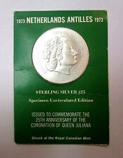 1973 Netherlands Antilles Sterling Silver f25 Coin Queen Juliana Uncirculated Ed