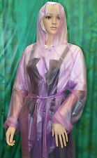 shiny see through mauve sissy hooded long raincoat belt mackintosh LGE