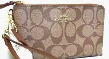 New COACH SIGNATURE  PVC DOUBLE CORNER ZIP WRISTLET/WALLET