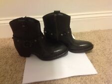 Born Laila Black Leather Studded Cowboy Fashion Ankle Boots Size 6 M