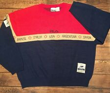 FILA 1998 France World Cup Soccer Spell Out Sweater Sz L 90's RARE**