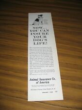1958 Print Ad Animal Insurance Co. of America New York,NY