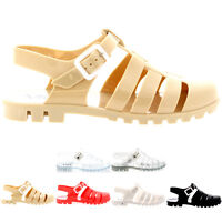Ladies Gladiator Summer Festival Flat Walking Holiday Jelly Sandals All Sizes