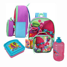 "Trolls Poppy Cooper School 12"" Backpack Lunch Bag Jug Bottle, Bread Sandwich Box"