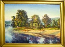 WONDERFUL RIVER - ORIGINAL OIL Painting from Ukraine! LANDSCAPE WALL decor ART