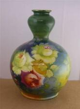 Antique Royal Bonn Handpainted German Red Yellow Rose Vase Germany Floral