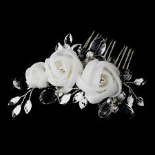 Spring White or Ivory Marquise Rhinestone Chiffon Rose Wedding Bridal Hair Comb