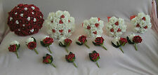 WEDDING PACKAGE ARTIFICIAL FLOWERS RED WHITE FOAM ROSE BRIDE BRIDESMAID BOUQUET