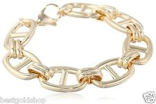"7.25"" Chunky Mariner Anchor Link Bracelet 14K Yellow Gold Clad Stainless Steel"