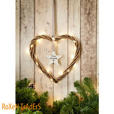 Merry Christmas Wicker Heart With Hanging Text Star & 20 Warm White Lights