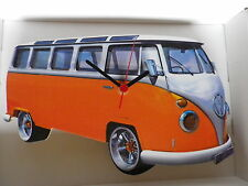 Orange Samba Design Classic VW Camper Van Wall Clock. New & Boxed