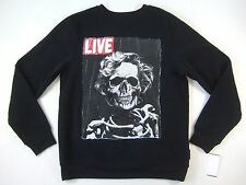 RING OF FIRE LIVE SKELETON SKULL ART BLACK LARGE CREWNECK SWEATER MENS NWT NEW