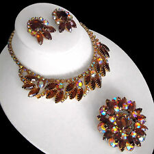 D&E Juliana Book Piece Open Back AB Topaz Rhinestone Necklace Brooch & Earrings