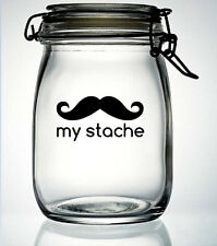 New Moustache Jar Sticker my stache vinyl sticker decal  18 colour choice