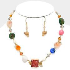 """Druzy Square and SEMI-PRECIOUS Stone Collar Necklace Set - Multi Color 18"""" (676)"""
