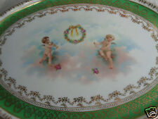 ANTIQUE VICTORIAN ROYAL SAXE PINK FLORAL ROSES CHERUBS PORCELAIN DRESSER TRAY