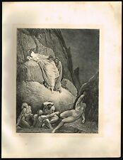 1860s ANTIQUE Old Vintage Nude Shade of Thais Gustave Dore Art Engraving PRINT