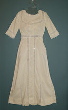 Antique 1900's Edwardian Titanic Era Yellow Cotton Lace Period Dress - XS