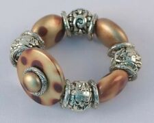 Silver & Brown Beads Stretch Bracelet Classy! VICTORIA LELAND DESIGNS