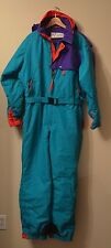 VTG 80s 90s Columbia mens Snowsuit Large neon retro Blue Ski suit Coat L