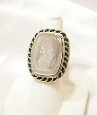 Gem Insider Retired Snow Opal/Opalescent Drusy Ring, 925 Sterling Silver, Size 8