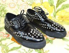 Prada 3E 5676 Size 39/9 Black Laces Studded Leather Oxford Sneakers Shoes