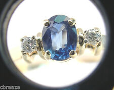 FINE MEDIUM BLUE NATURAL SAPPHIRE 1.67 CTS with DIAMONDS 14K GOLD RING